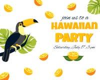 Tropische Hawaiiaanse Affiche met toekan Partijmalplaatje Uitnodiging, banner, kaart Royalty-vrije Stock Afbeeldingen