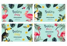 4 tropische Hawaiiaanse Affiches met toekan, papegaai, pelikaan en flamingo Stock Foto's