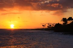Tropische Hawaiiaanse zonsondergang Royalty-vrije Stock Foto