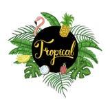 Tropische hawaiische tropische Parteieinladung mit Palmblättern stockbild