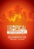 Tropische het Strandpartij van de Levensstijlzomer Creatief Vectorafficheconcept Palm op Verontruste illustratie Als achtergrond stock illustratie