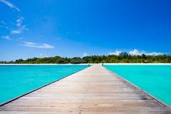 Tropische het strandscène van de Maldiven Stock Afbeelding