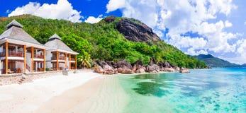 Tropische holydays in Paradijs - het eiland van Seychellen, islan Praslin stock foto