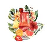 Tropische Illustration des Aquarells mit Sommercocktail, -früchten und -blumen lizenzfreie abbildung