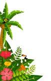 Tropische installaties en papegaaien. stock afbeelding