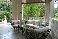 Tropische koloniale architectur Stock Afbeelding