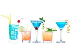 Tropische kosmopolitische de cocktails blauwe Hawaiiaans van Martini en geel Royalty-vrije Stock Fotografie