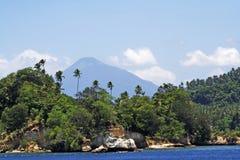Tropische kust met palmen en royalty-vrije stock foto