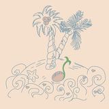 Tropische Landschaft Hand ertrinken Vektorillustration Lizenzfreies Stockfoto