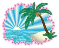 Tropische Landschaft im Rand der Blumengirlande Stockfotos