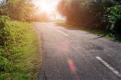 Tropische Landschaft mit leerer Straße und grünem Straßenrand Tropische Waldreise durch Fahrrad Stockbild
