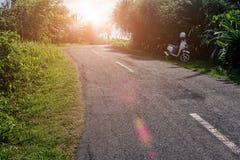 Tropische Landschaft mit leerer Straße und grünem Straßenrand Tropische Waldreise durch Fahrrad Stockfotografie