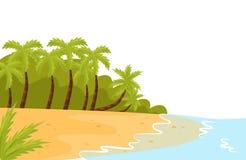 Tropische Landschaft mit Ozeanufer, sandigem Strand und Palmen grünes Feld, blauer Himmel Flacher Vektor für Plakat des Reisebüro vektor abbildung