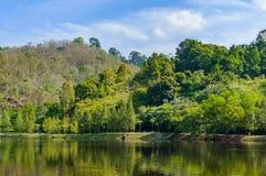 Tropische Landschaft, See und Hügel in Kathu-Bezirk auf Phuket Stockfoto