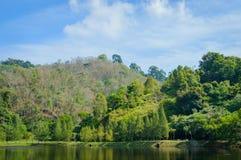 Tropische Landschaft, See und Hügel in Kathu-Bezirk auf Phuket Lizenzfreie Stockfotografie