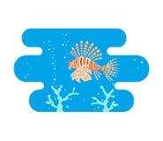 Tropische lionfishes op blauwe achtergrond royalty-vrije illustratie