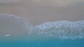 Tropische Luftvogelperspektive des sandigen Strandes und Azurblau wässern stock footage