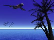 Tropische maannacht met vliegtuig. Stock Afbeelding
