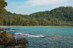 Tropische mening over de oceaan en het bos Royalty-vrije Stock Fotografie