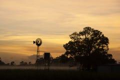 Tropische nevelige dageraad met windmolen Royalty-vrije Stock Foto's