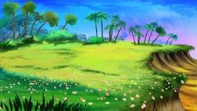 Tropische open plek en afgrond stock illustratie
