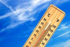 Tropische openluchttemperatuur op de thermometer Royalty-vrije Stock Afbeelding