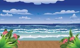 Tropische overzees en pier stock illustratie
