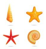 Tropische overzeese symbolen die op het wit worden geplaatst Stock Afbeeldingen
