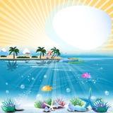 Tropische overzeese themaachtergrond met tekstgebied vector illustratie