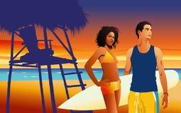 Tropische Paare auf dem Strand - vector Abbildung Lizenzfreies Stockfoto