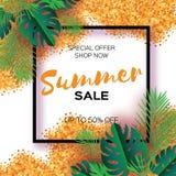 Tropische Palmblätter, Anlagen Modische Sommerschlussverkauf-Schablonenfahne Papierschnittkunst exotisch hawaiianer text Quadrati vektor abbildung