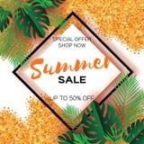 Tropische Palmblätter, Anlagen Modische Sommerschlussverkauf-Schablonenfahne Papierschnittkunst exotisch hawaiianer text Rautenra vektor abbildung