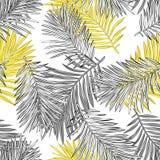 Tropische Palmbladen, Naadloze Vector Bloemen het Patroonachtergrond van Wildernisbladeren stock illustratie