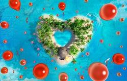 Tropische Paradiesinsel in Form von Herzen mit dem Fliegen von roten Ballonen, Vogelperspektive lizenzfreie abbildung