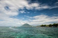 Tropische Paradiesinsel Siladen-Türkises Stockbild