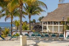 Tropische Paradise-Strandtoevlucht, Riveria Maya, Mexico stock afbeeldingen