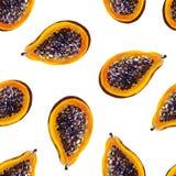 Tropische patroon van de gouache het naadloze zomer met papaja stock illustratie