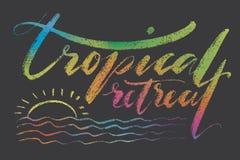 Tropische Rückzugwörter Übergeben Sie gezogene kreative Kalligraphie und bürsten Sie Stiftbeschriftung, Design für T-Shirts, Kind Stockfotos