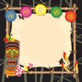Tropische Retro- tiki oder luau Partyeinladung Stockfotografie
