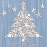 Tropische Seashell-Weihnachtsbaum-Karte Stockfotos