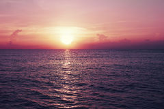 Tropische Seychellen Zonsondergang op het eiland van La Digue Stock Afbeelding