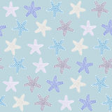 Tropische starfishetextuur Naadloos vectorpatroon Oceaanfauna Stock Foto's