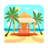 Tropische Strand-Bar-Sommerferien oder Ferien Vektor lizenzfreie abbildung