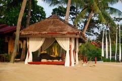 Tropische Strand-Einstellung mit Kokosnussbäumen, -hütte und -bett. lizenzfreies stockbild