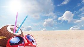 Tropische Strand en Kokosnoten de Animatieachtergrond van de Motiegrafiek stock videobeelden