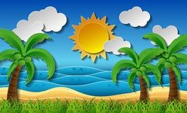 Tropische stranddocument kunststijl Royalty-vrije Stock Afbeeldingen