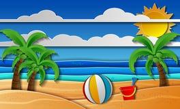 Tropische stranddocument kunststijl Stock Foto's