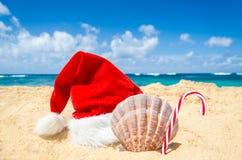 Tropische strandkerstmis en Nieuwjaarachtergrond Royalty-vrije Stock Fotografie