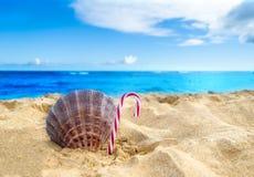 Tropische strandkerstmis en Nieuwjaarachtergrond Stock Fotografie