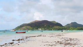 Tropische strandmening, Seychellen stock videobeelden